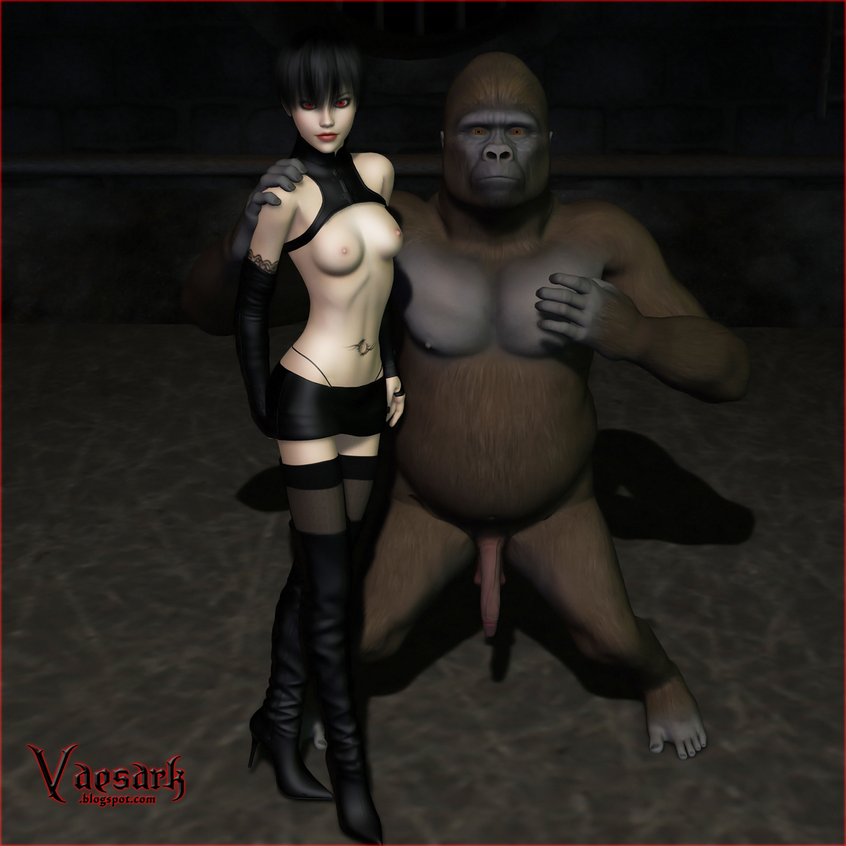 Have Pic of girl fucked by gorilla much